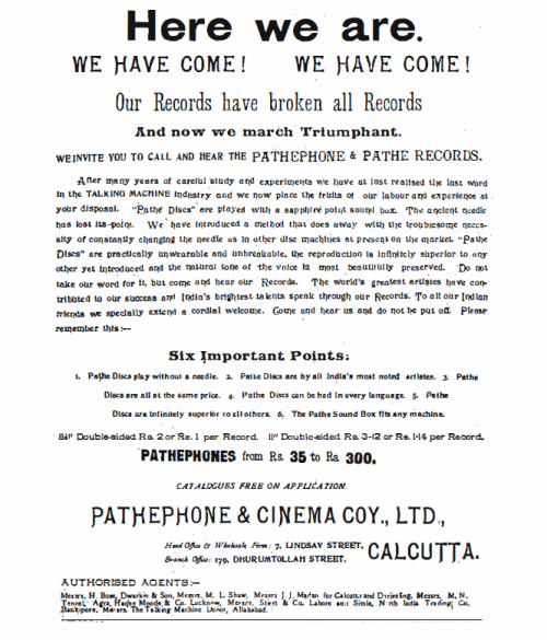 "An Advertisement from ""The Bengalee"", 3rd May, 1908"