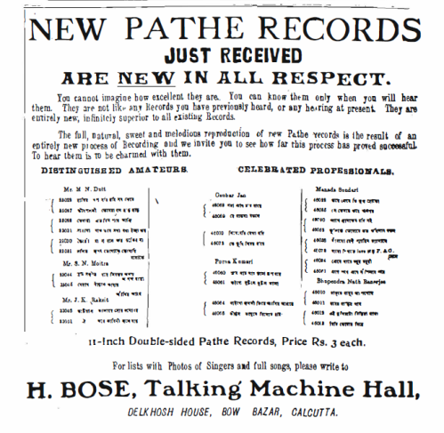 "An Advertisement from ""The Bengalee"", 3rd May, 1910"