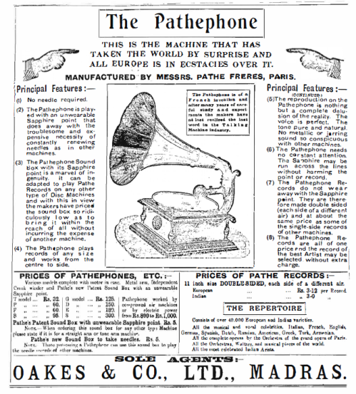 "An Advertisement from ""The Madras Mail"", 5th April, 1909"