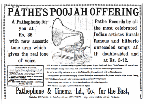 An Advertisement from - The Bengalee - 7th April 1912