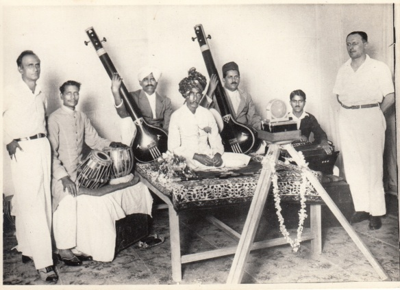 R.D. Sethna on Left from Ruby Record Co., Recording Session, Abdul Karim Khan
