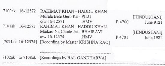 Rahimat Khan, Khyal Singer - DISCOGRAPHY